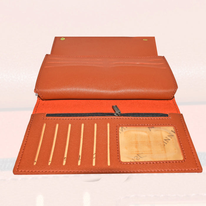 Fashion PU Leather Wallet Clutch Card Holder Purse for Ladies - Brown