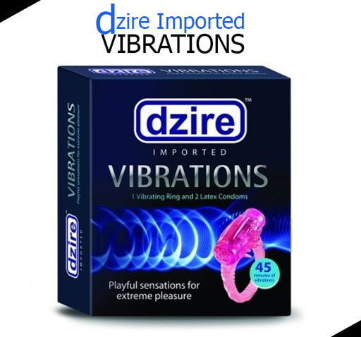 Dzire Imported Ring Vibrator + 2 Pieces Of Latex Condoms - For Men - Hiffey