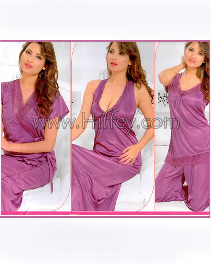 Bell Bridal Purple Nighty 4 Piece Set - 4045A
