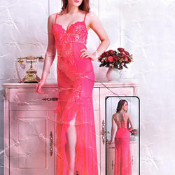 Lace Foam Long Nighty for Women's - Pink