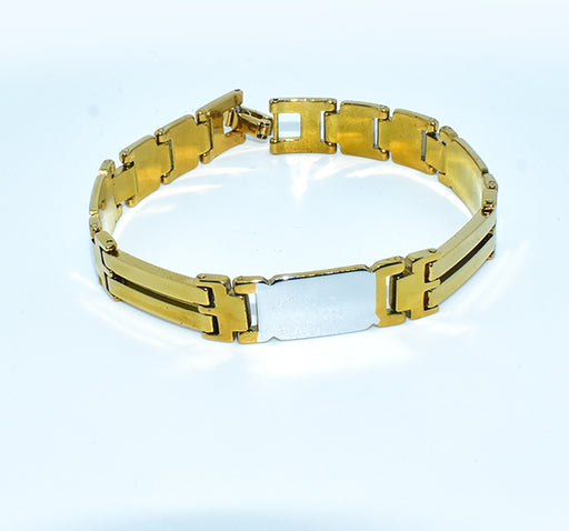 Double Shaded Silver & Golden Bracelet For Men - Multicolor - Hiffey