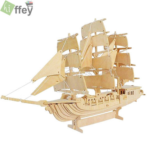 3D Puzzle Toy - European sailing boat Woodcraft Construction - Hiffey