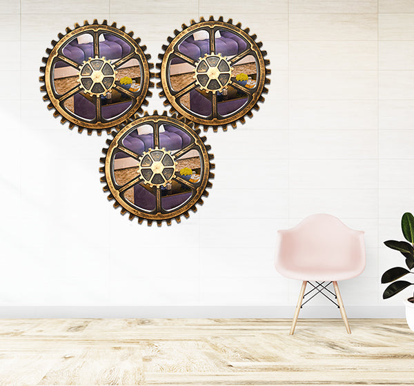 Clock Machine Design Mirror Wall Frame 3 Piece Set - Hiffey