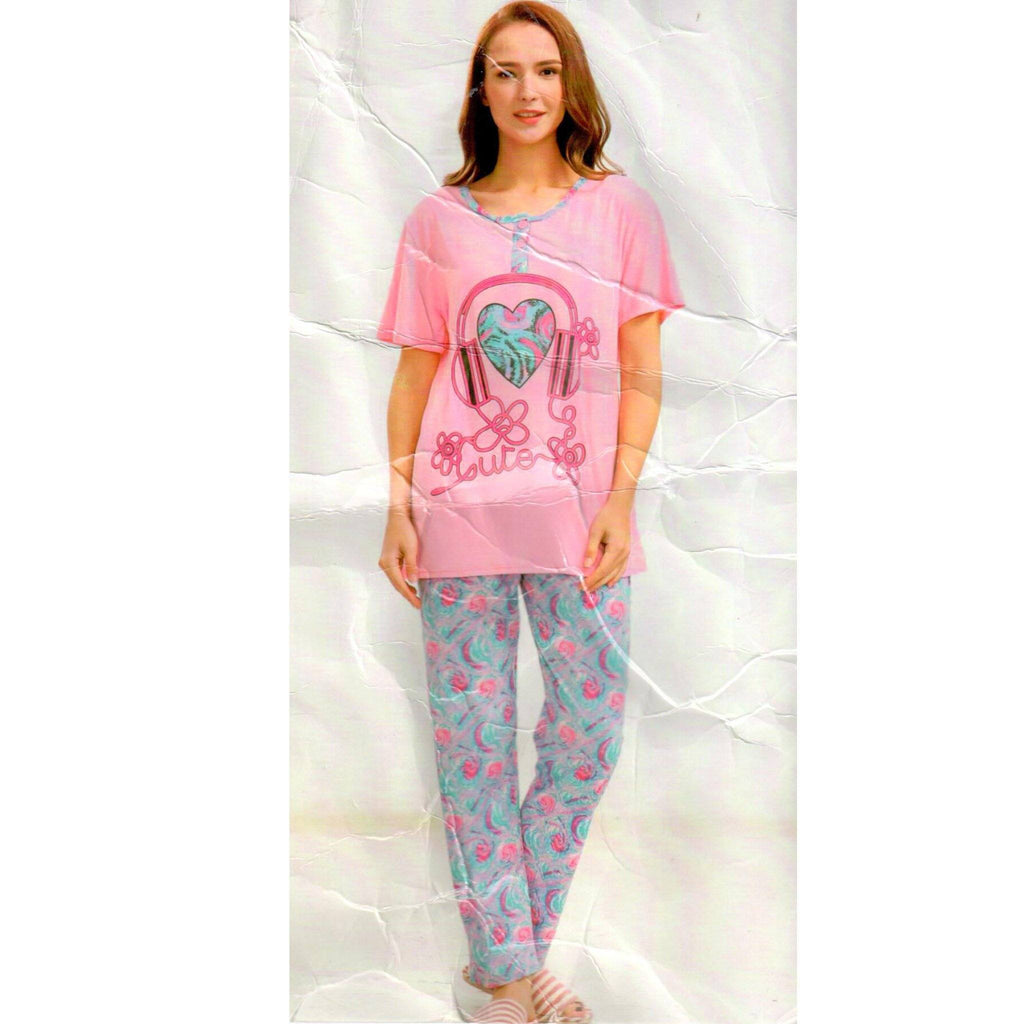 Ladies Night Dress Pajama and Cute Walkman Shirt for Women and Girls