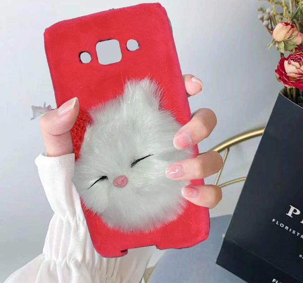 cheap for discount a2a85 95ca5 Samsung Galaxy J5 - Cute Cat Fluffy Mobile Cover Case - Pink - Hiffey