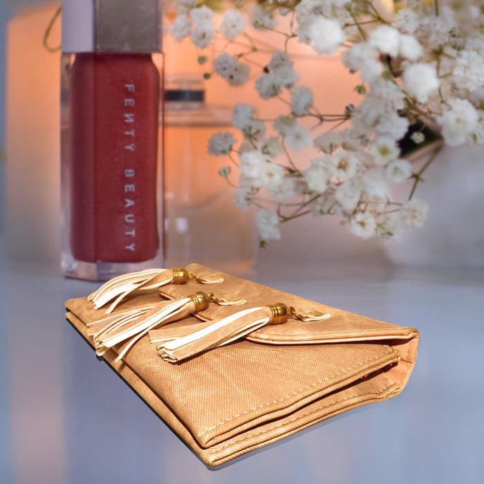 Girls Stylish Leather Clutches Golden Brown Color.