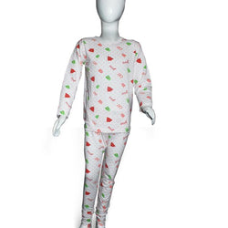 Kids White Printed Night Suits