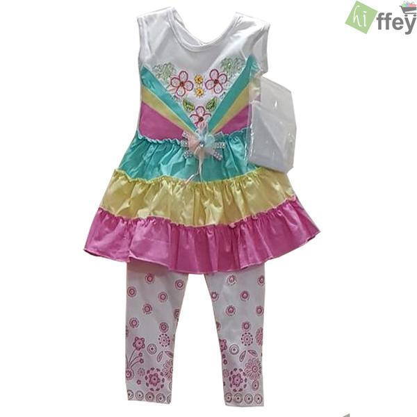 Printed Flower Frock Pink Color For Baby Girl