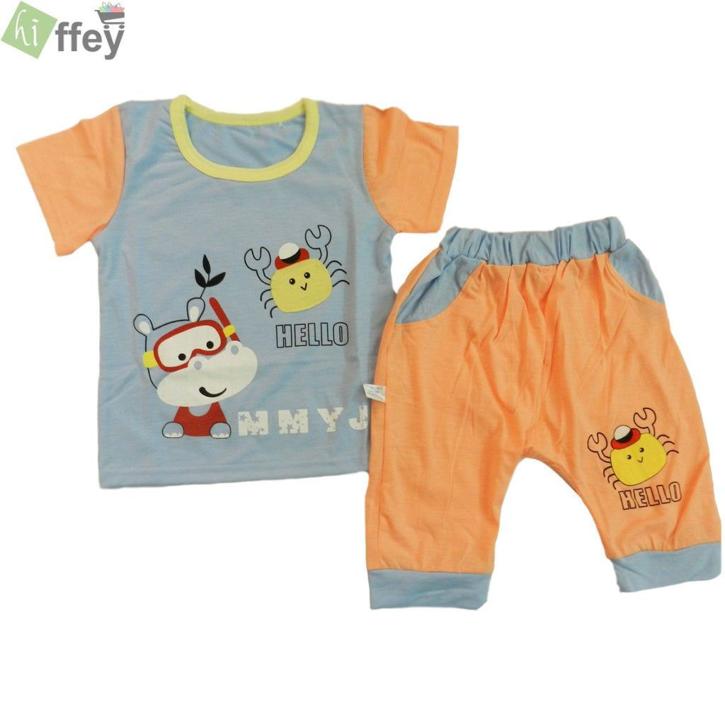 Collection By KISSBEE- Sky Blue T-Shirt And Orange Color Trouser