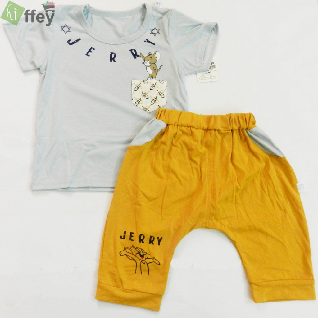 Collection By KISSBEE- Grey T-Shirt And Mustard Color Trouser