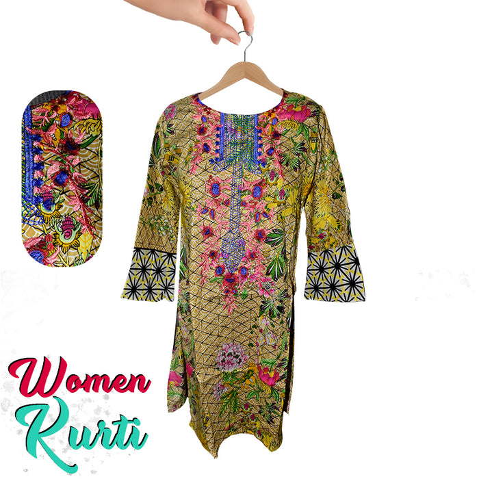 Stylish Printed Lawn Kurti With Round Neckline for Women