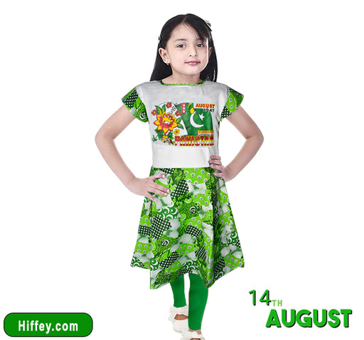 14 August Frock & Pajama For Girls - Green & White - Hiffey