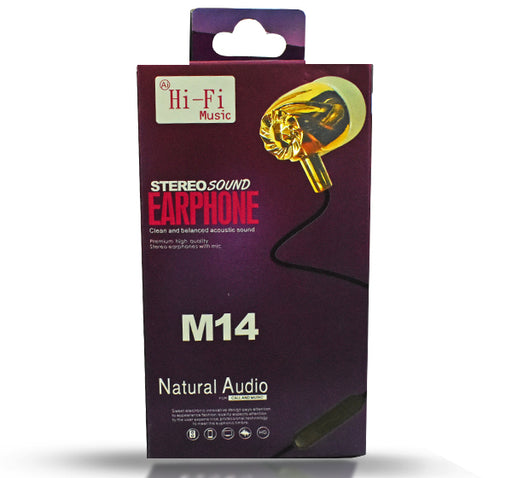 Hi Fi Music Natural Audio Earphone M14 - Black - Hiffey