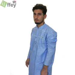 Stylish Sky Blue Printed Kurta For Men - Hiffey