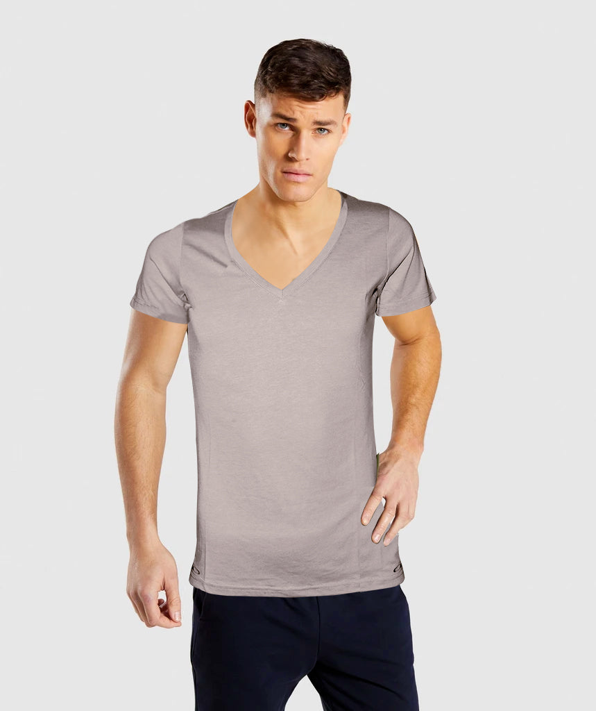 OAKLEY V Neck Tee Soft Cotton T-Shirt For Men - Greyish