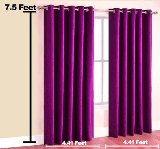 Plain Silk Satin Velvet Wall Curtain Pair Of 2 - Purple - Hiffey
