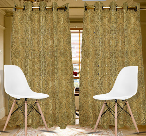Textured Embroidery Design Wall Curtain Pair Of 2 - Beige - Hiffey