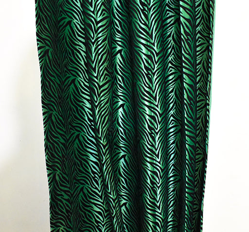 Velvet Stripes Wall Curtain Pair Of 2 - Dark Green - Hiffey