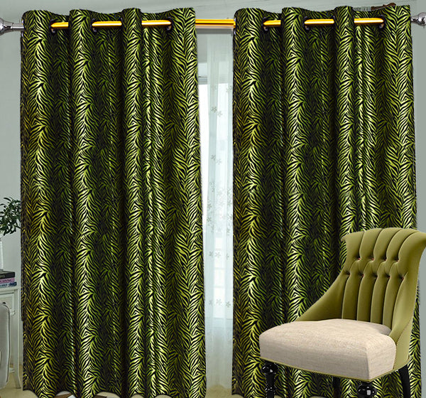 Velvet Stripes Wall Curtain Pair Of 2 - Light Green - Hiffey