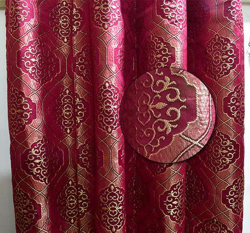 Textured Embroidery Design Wall Curtain Pair Of 2 - Maroon - Hiffey