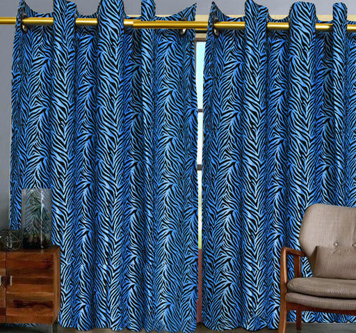 Velvet Stripes Wall Curtain Pair Of 2 - Blue - Hiffey