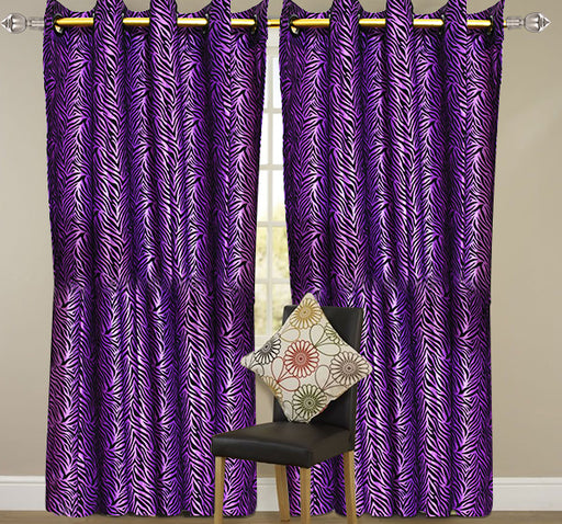 Velvet Stripes Wall Curtain Pair Of 2 - Purple - Hiffey
