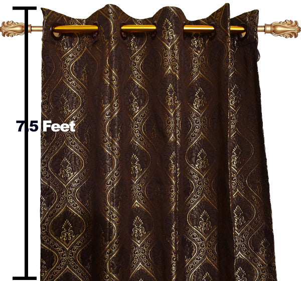 Textured Embroidery Design Wall Curtain Pair Of 2 - Brown - Hiffey