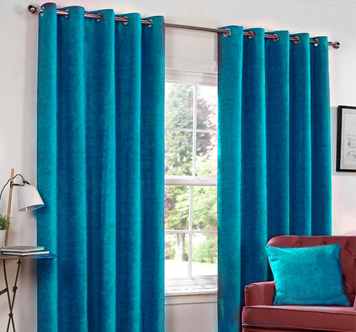 Plain Silk Satin Velvet Wall Curtain Pair Of 2 - Blue - Hiffey