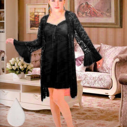 Black Silk Short Nighty with Net Gown and Thong - 3 Piece