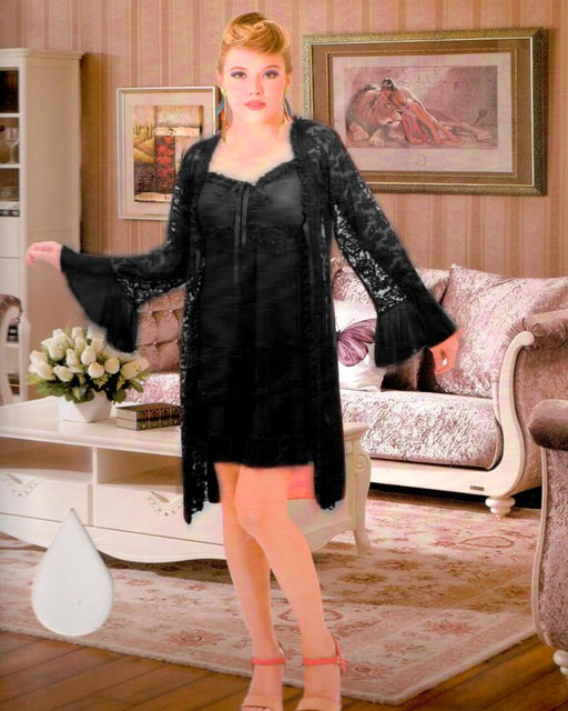 Black Silk Short Nighty with Net Gown and Thong - 3 Piece - Hiffey
