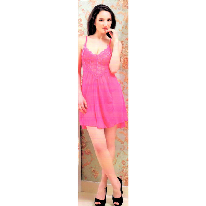 Pink Soft and Stretchy Short Nighty -9007