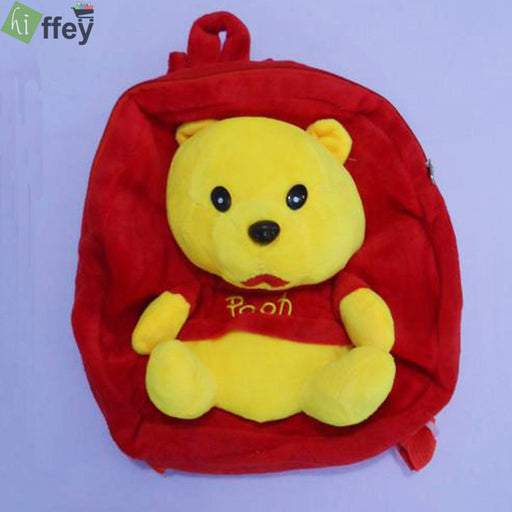 Pooh Bear Velvet School Bag for Kids - Hiffey