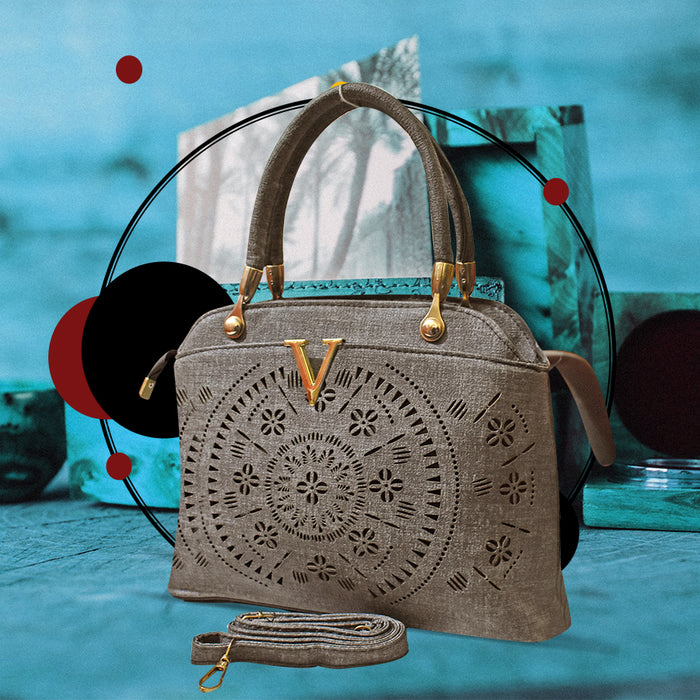 Laser Cut Tote Handbags for Ladies - Gray