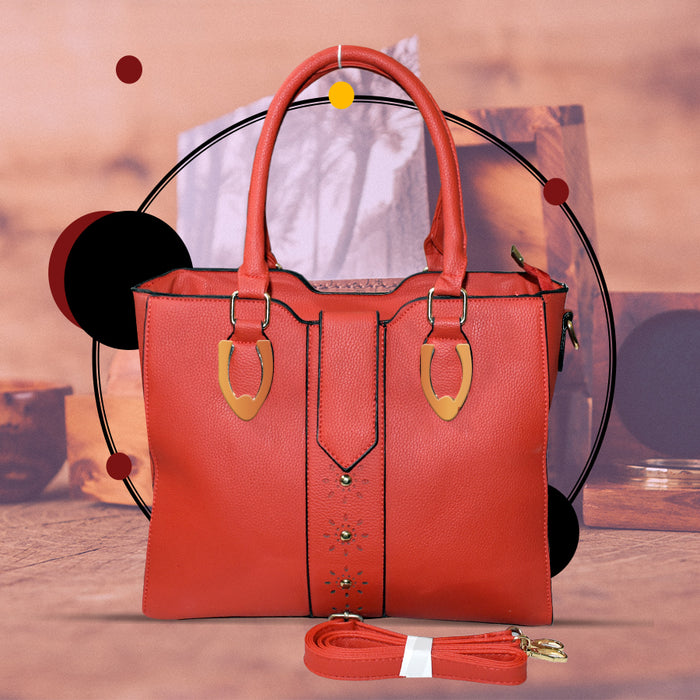 Stylish PU Leather Bag for Ladies - Red