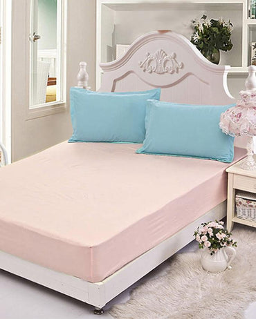 Single Jersey Fitted Bed Sheet -Baby Pink