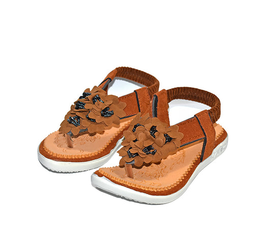 Flower Sandal For Girls - Brown - Hiffey