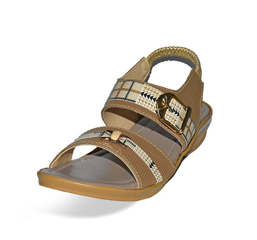 Medium Heel Comfortable Sandal For Ladies - Light Brown - Hiffey