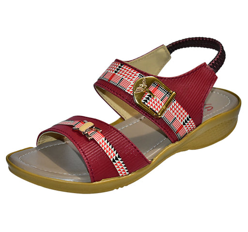Medium Heel Comfortable Sandal For Ladies - Maroon - Hiffey
