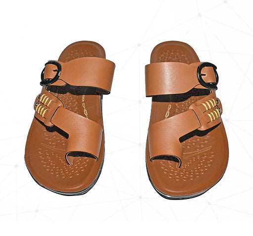 Men X-ALDO Chappal With Black Side Clip - Light Brown