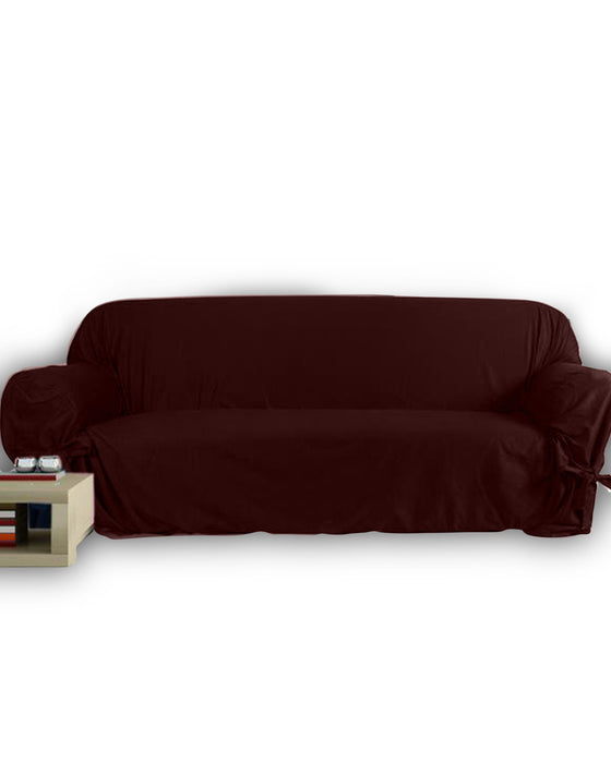 5 Seats Jersey Sofa Cover - Brown - Hiffey