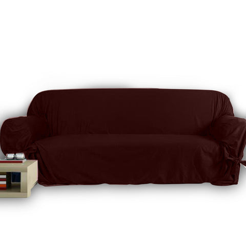 5 Seats Jersey Sofa Cover - Brown