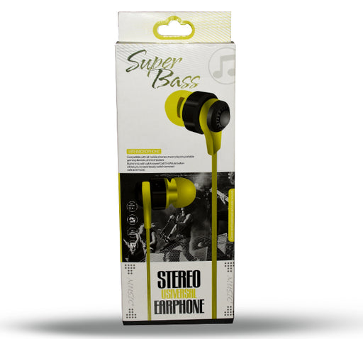 Super Bass Universal Stereo Earphone - Black - Hiffey