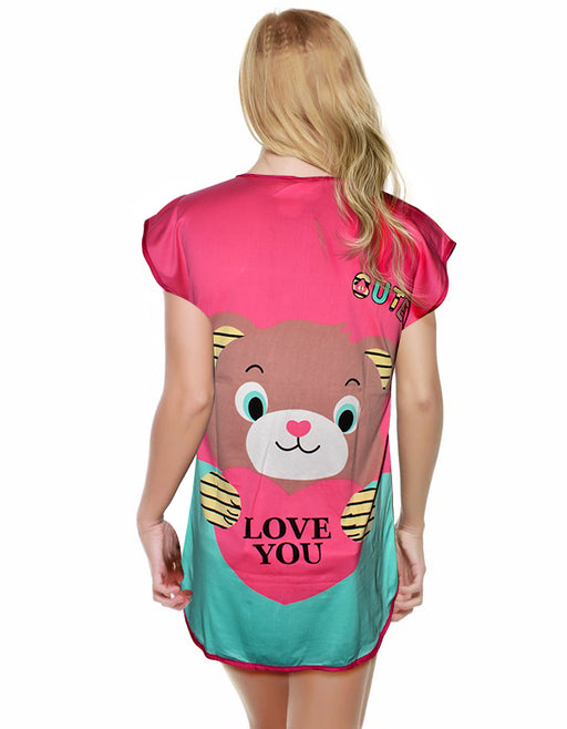 Teddy Proposing With Heart Love You Printed Short Night T-Shirt For Women - Multicolor - Hiffey