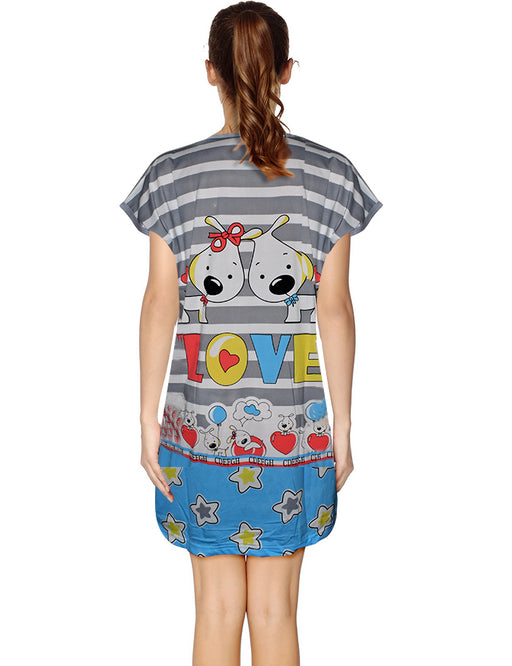 Two Puppies In Love Long Night T-Shirt For Women - Multicolor - Hiffey