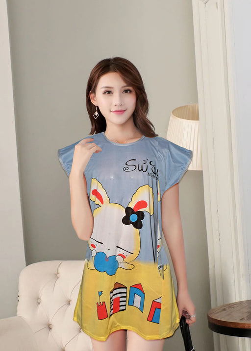 Animated Rabbit Printed Fancy Long Night T-Shirt For Women - Multicolor - Hiffey