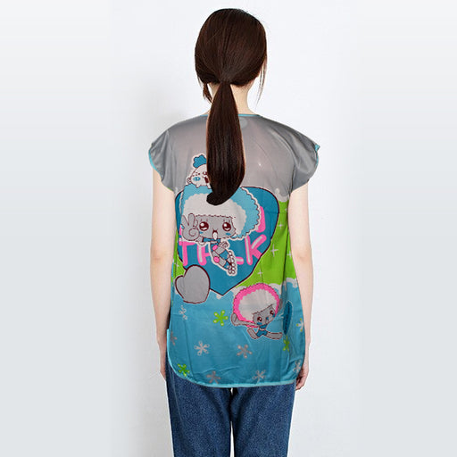 Cute Little Cartoons Printed Fancy Long Night T-Shirt For Women - Multicolor - Hiffey