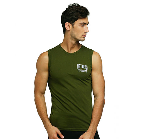 Round Neck Cotton Muscle Casual Sleeveless Sando For Men - Green - Hiffey