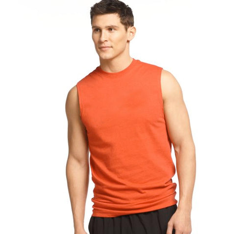 Round Neck Cotton Muscle Casual Sleeveless Sando For Men - Orange - Hiffey