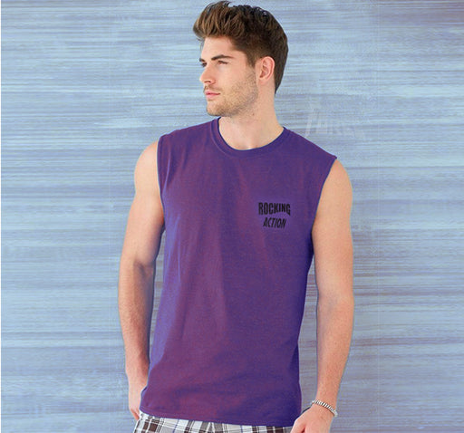 Round Neck Cotton Muscle Casual Sleeveless Sando For Men - Purple - Hiffey