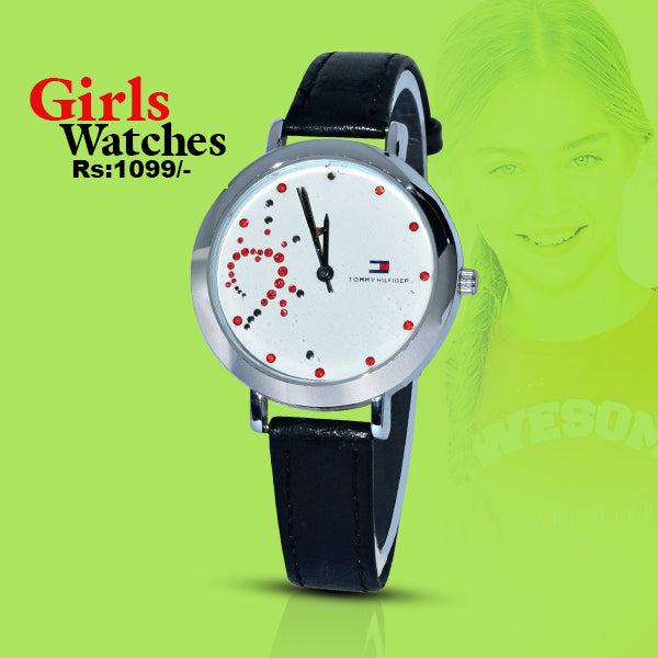 Leather Band Analog Round Wrist Watch for Woman